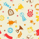 Awards and trophy seamless pattern. Reward items for sports or corporate competitions Royalty Free Stock Photography
