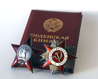 Awards of the USSR. The order of `the Great Patriotic war` and `Red Star` Stock Photo