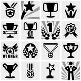 Awards vector icons set on gray Stock Photo