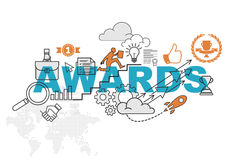 Awards website banner concept with thin line flat design. Vector illustration eps-10 Royalty Free Stock Images