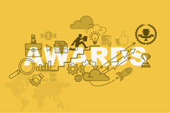 Awards website banner concept with thin line flat design. Vector illustration eps-10 Stock Photography