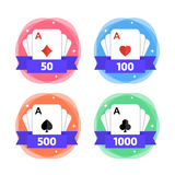 Awards for the winner in playing cards with different number of points. Icon for casino, computer or mobile game. Vector. Illustration isolated on white Stock Image