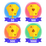 Awards for the winner in playing cards with different number of points. Icon for casino, computer or mobile game. Vector. Illustration isolated on white Royalty Free Stock Photography