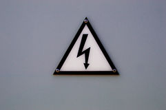 Aware of eletricity sign Stock Photos