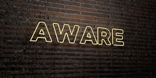 AWARE -Realistic Neon Sign on Brick Wall background - 3D rendered royalty free stock image Stock Photography