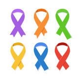 Awareness colorful vector ribbons, symbol of AIDS candlelight memorial day isolated on white. Collection of Awareness colorful vector ribbons, symbol of AIDS Stock Image