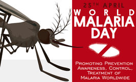 Awareness Design in World Malaria Day with Mosquito and Plasmodium, Vector Illustration Royalty Free Stock Photography