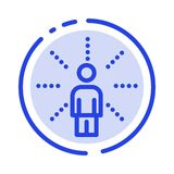 Awareness, Feel, Human, Perception, Sense Blue Dotted Line Line Icon stock illustration