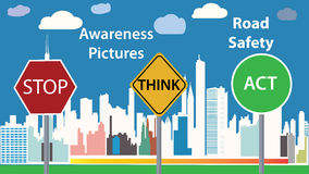 Awareness photo  illustration - road safety message - children education poster Stock Image