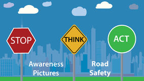 Awareness photo vector illustration - road safety message - children education poster Stock Photography