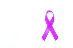 Awareness purple ribbons of common cancer for symbol of testicul. Ar cancer or lymphoma for people protect on white background Stock Photography