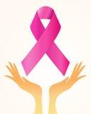 Awareness ribbon. Hands holding up pink ribbon illustration Royalty Free Stock Images