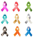 Awareness ribbon. Collection of illustrated awareness ribbons.eps file is available Royalty Free Stock Photo