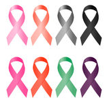 Awareness ribbon, set of colorful ribbons on a white background, silk ribbon,. Vector illustration stock illustration