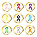 Awareness ribbon stickers Stock Image