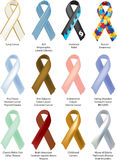 Awareness Ribbons - 12 individually shaded Stock Image