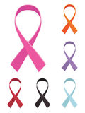 Awareness ribbons. In pink red purple orange black and blue, isolated on white Stock Photo