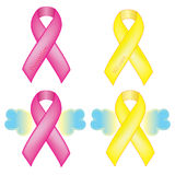 Awareness ribbons. Pink Ribbon - Breast Cancer with thread like border. Yellow Ribbon - We care Royalty Free Stock Image