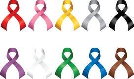 Awareness Ribbons. Various colored vector awareness ribbons Royalty Free Stock Image