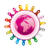Awareness Ribbons And Earth Royalty Free Stock Images