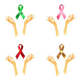 Awareness ribbons with hands Royalty Free Stock Photo