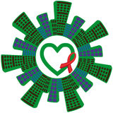 Awareness ribbons and heart. Green Heart with ribbon and social houses on a white background vector Stock Image