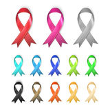 Awareness Ribbons - multiple colors concept. Concept art Royalty Free Stock Images