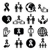 Awareness ribbons with people - black  icons set Royalty Free Stock Photo