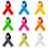 Awareness Ribbons Set Royalty Free Stock Images