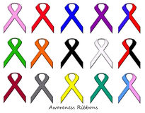 Awareness Ribbons Set Stock Image