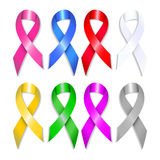 Awareness ribbons set with shadows. Breast, prostate, bladder, colon, liver, lung, brain cancer. Royalty Free Stock Image