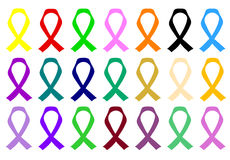 Awareness ribbons various colours and causes for Cancer Royalty Free Stock Photo