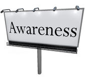 Awareness Word Billboard Marketing Message Sign stock illustration