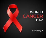 Awareness World Cancer Day red ribbon Royalty Free Stock Photos