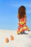 Away. Woman going away. Focus on the shoes Stock Photography