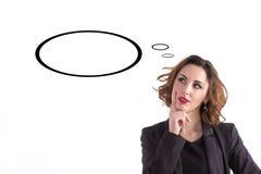 away affärskvinna som ser fundersam Utrymme för text Arkivfoto
