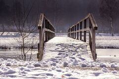 Away, Bridge, Web, Railing, Winter Stock Images