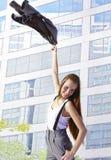 away fående flicka lyckligt kontor Arkivfoton