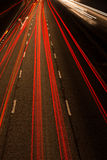 Away and towards. Lights at night on the motorway Royalty Free Stock Photo