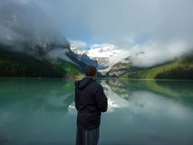 Lake Louise, Banff Canada reflections. In Awe of the beauty of Lake Louise, banff, Canada royalty free stock photography