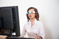 Awe - business person with 3d glasses Stock Image