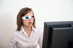 Awe - business person with 3d glasses Stock Photo