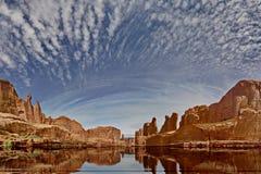 Awe inspiring scene in Utah. Rendition with imagined lake stock photos