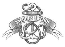 Aweigh tatueringemblem för ankare vektor illustrationer