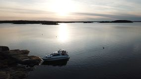 A awesom sunset in archipelago by drones poin of view the gulf of Finland. Sunset during our boat trip in the gulf of Finland and nobudy around us royalty free stock photo