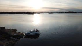 Awesom zmierzch w archipelagu trutnia poin widok zatoka Finlandia Zdjęcie Royalty Free