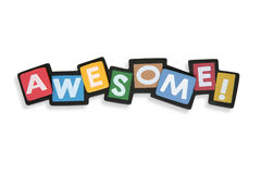 Awesome. A colorful awesome sign in blocks over white stock image