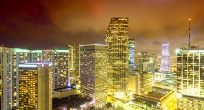 Awesome aerial view of Miami skyline from helicopter Royalty Free Stock Images