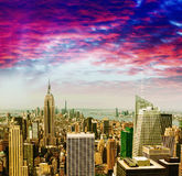 Awesome aerial view of Midtown Manhattan against sunset sky Royalty Free Stock Photos