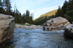 Awesome Ancient Boulders on the Scenic Similkameen River. Awesome ancient boulders in the cascading waters of the Similkameen River near historic Hedley in the Stock Photo